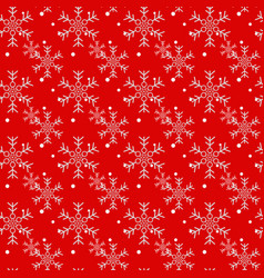 christmas seamless pattern of snowflakes on red vector image