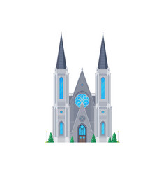 church old gothic cathedral chapel flat building vector image