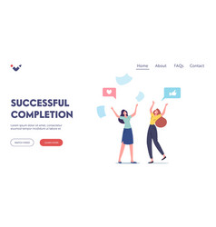 Completed task landing page template happy female vector