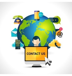 Contact us concept globe poster vector