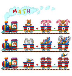 counting numbers of toys on the train vector image