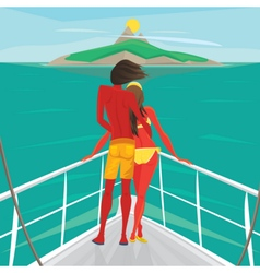 Couple standing on a yacht and admire the island vector