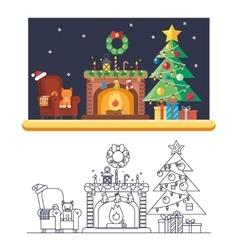 Cristmas Room New Year Santa Claus Icons Greeting vector image