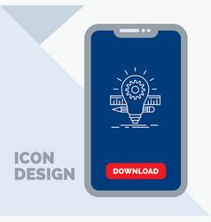 development idea bulb pencil scale line icon in vector image