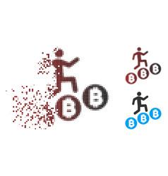disintegrating pixel halftone person climb vector image