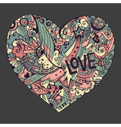 dodle colorful heart with ornate ornament vector image