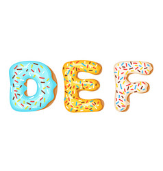 donut icing upper latters - d e f font of vector image
