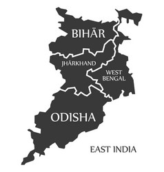 East india region map labelled black vector