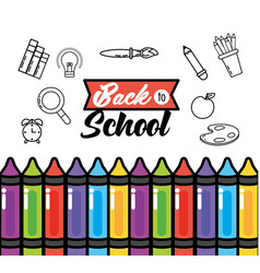 Education crayons with pencils colors supplies vector