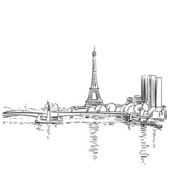 eiffel tower and river seine sketch paris france vector image
