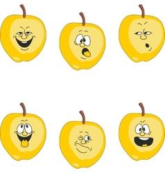 Emotion cartoon yellow apple set 018 vector