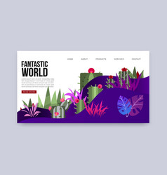fantastic word mysterious earth with plants vector image