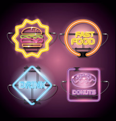 Fast food and drinks with neon lights icons vector