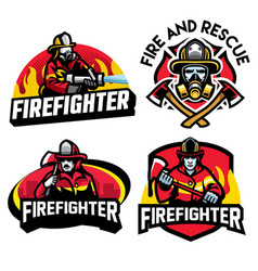 firefighter badge design set vector image