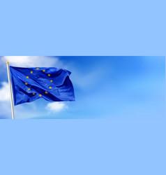Flag european union against blue sky vector