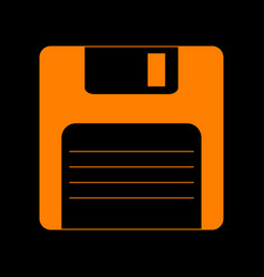 floppy disk sign orange icon on black background vector image