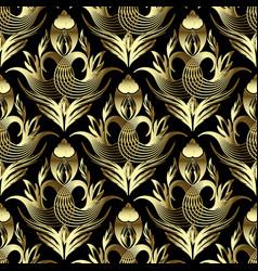 floral vintage gold 3d damask seamless pattern vector image