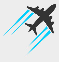 Flying airplane trace icon vector