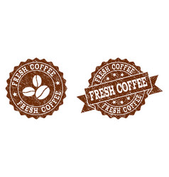 fresh coffee stamp seals with grunge texture in vector image