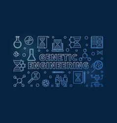 Genetic engineering blue outline vector