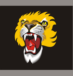 Gold roaring lion angry animal grinning face vector