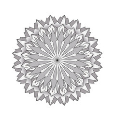 Grayscale circular round simple mandala vector