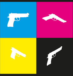 gun sign white icon with vector image