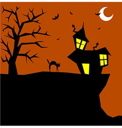 Halloween cat on a scary background vector