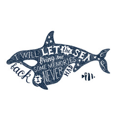 Hand drawn lettering in killer whale silhouette vector