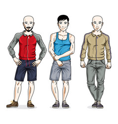 handsome young men group standing wearing stylish vector image