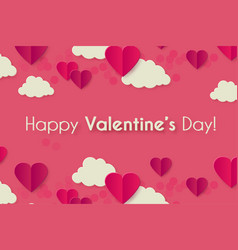 happy valentine s day background with hearts and vector image