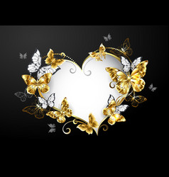 heart with gold butterflies vector image
