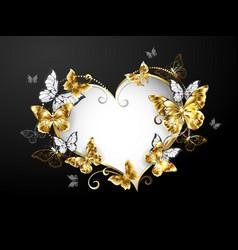 Heart with gold butterflies vector