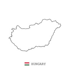 hungary map line linear thin hungary vector image