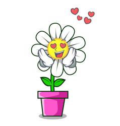 in love daisy flower mascot cartoon vector image