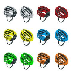 Isometric bicycle helmets icons set bike helmet vector