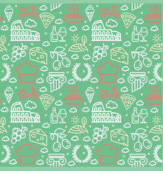 italy signs seamless pattern background on a green vector image