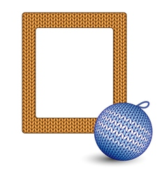 Knitted christmas ball and frame on white vector
