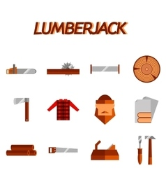 Lumberjack flat icon set vector