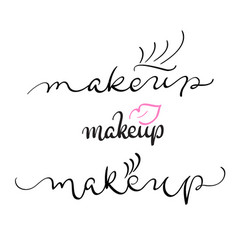 Makeup text on white background vector