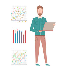 man with laptop presenting chart report vector image