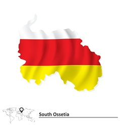 Map of South Ossetia with flag vector image