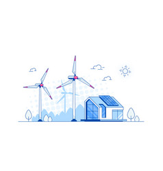 Modern house with solar panels and wind turbines vector