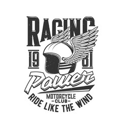 motorcycle racers club motor races helmet wings vector image