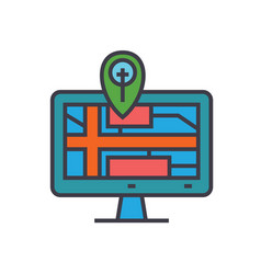 navigation monitor with map flat line vector image