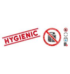 No toilet paper mosaic and distress hygienic seal vector