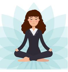 office worker meditating sitting in lotus pose vector image