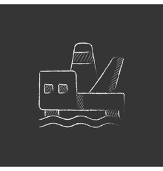 Offshore oil platform Drawn in chalk icon vector