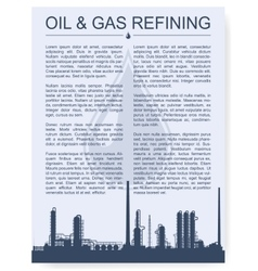 Oil and gas refinery or chemical plant silhouette vector