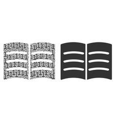 Open book mosaic of binary digits vector